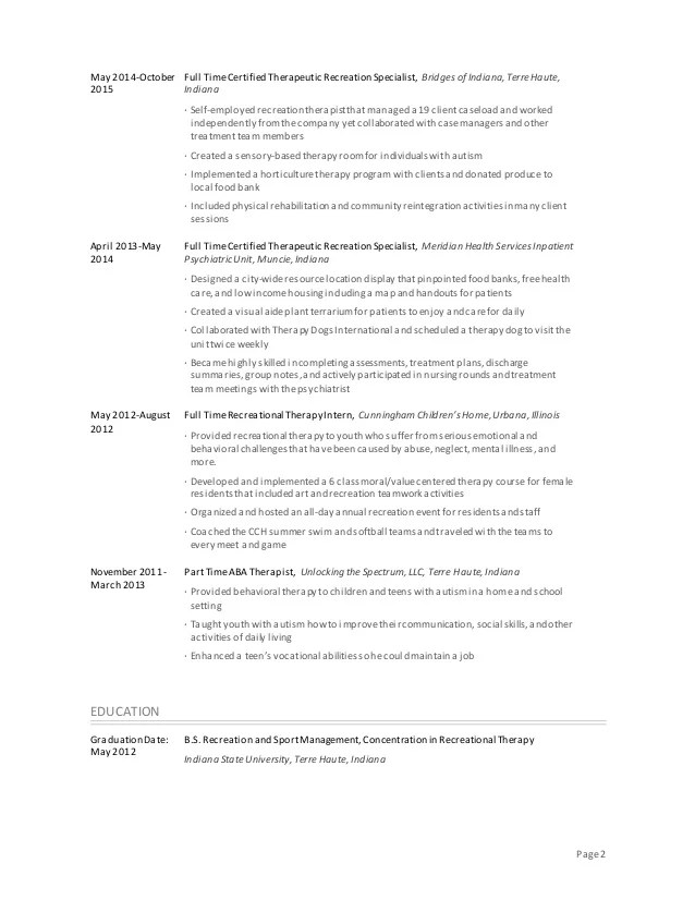 Recreation Specialist Sample Resume Professional Therapeutic