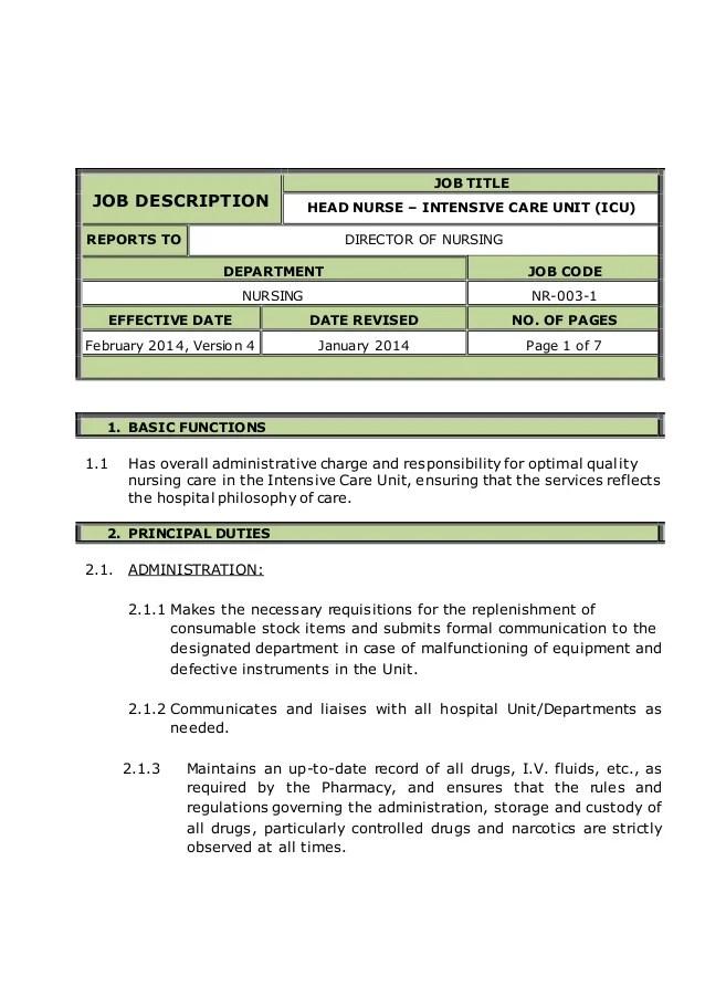 job description of an icu nurse