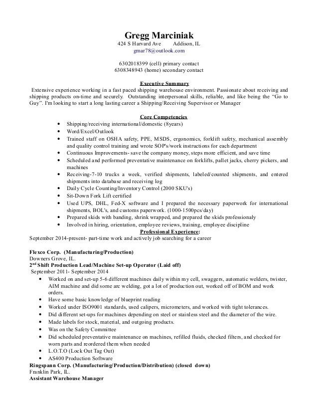 shipping and receiving warehouse resume sample