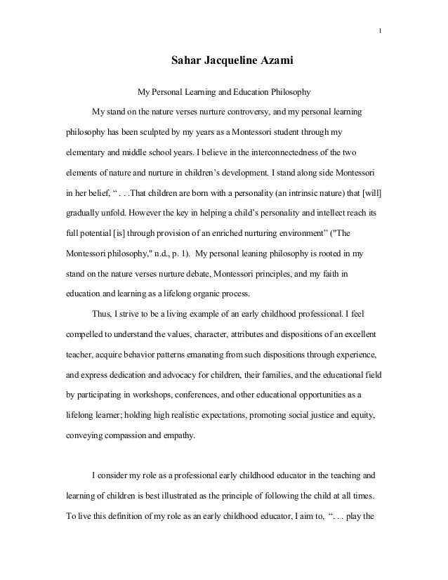 personal professional disposition statement examples