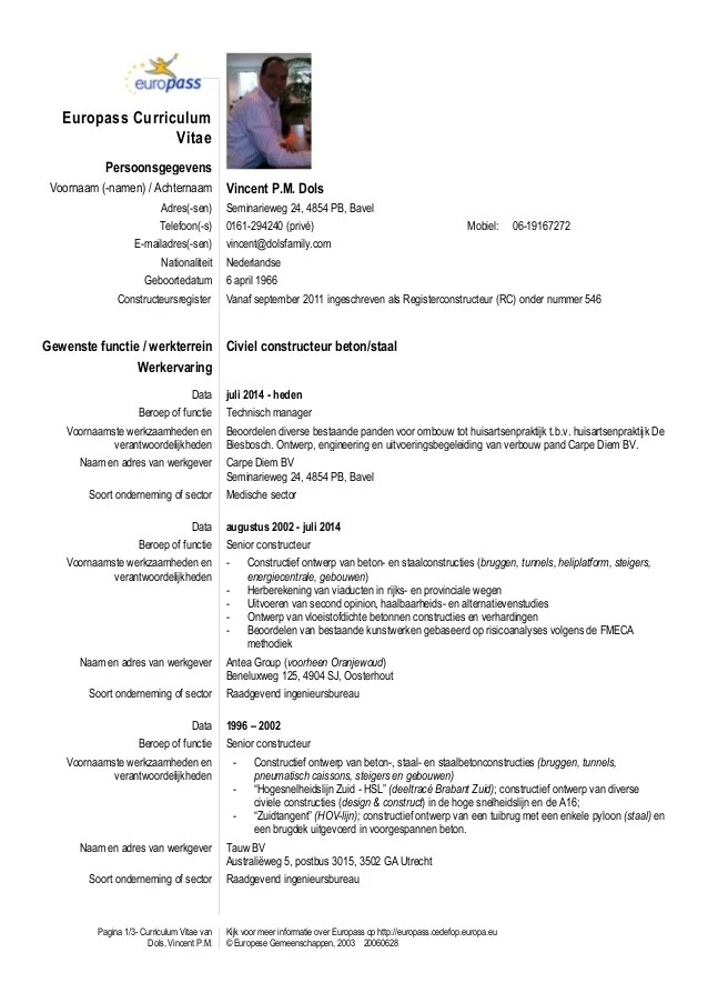 Cv model nederlands voorbeeld cv 2018 europass cv template nederlands yelopaper