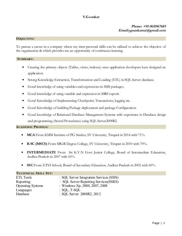 sql resume sample for freshers