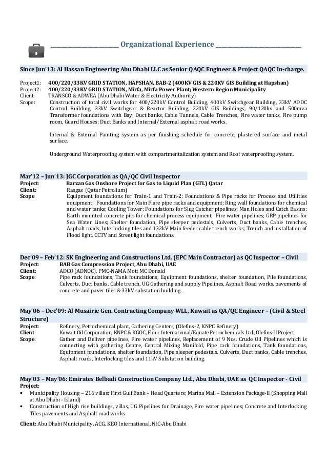civil qa qc engineer resume - Alannoscrapleftbehind