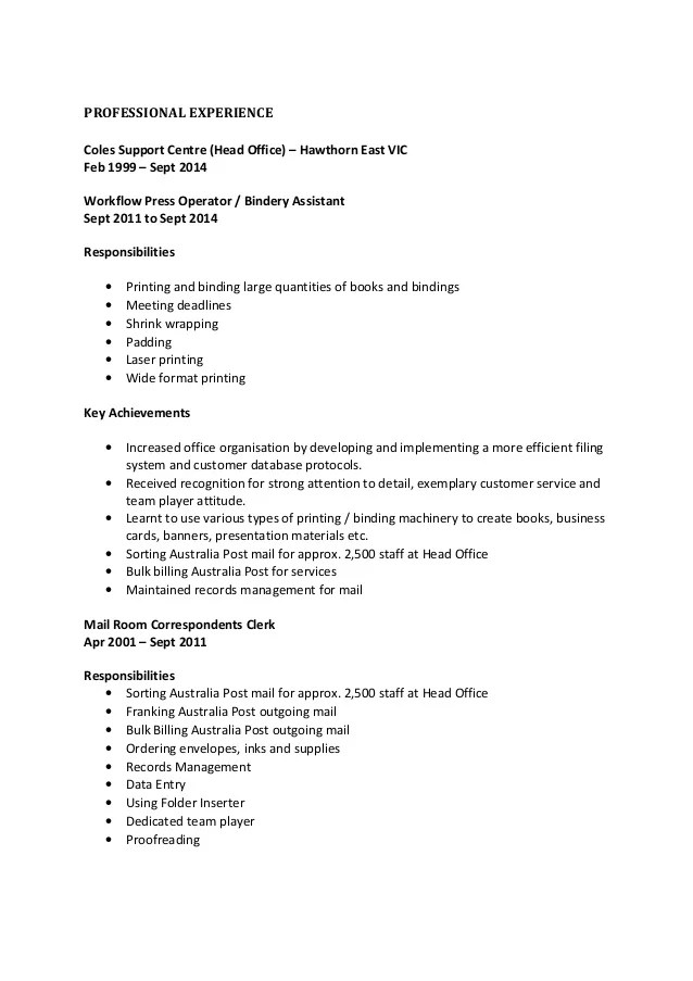 printing binding resume