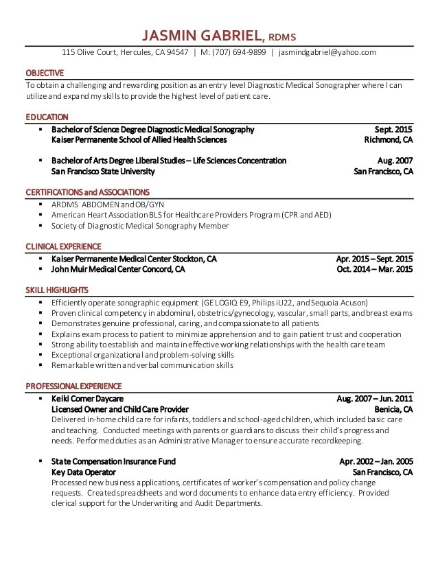 entry level ultrasound resume examples