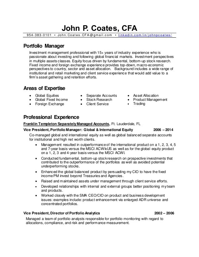 resume of portfolio manager