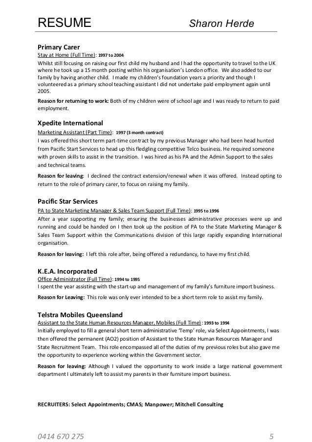 resume for leaving teaching