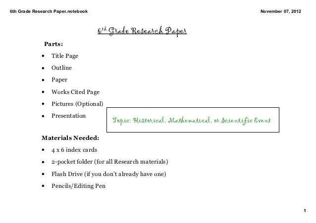 6th Grade Research Paper Introduction