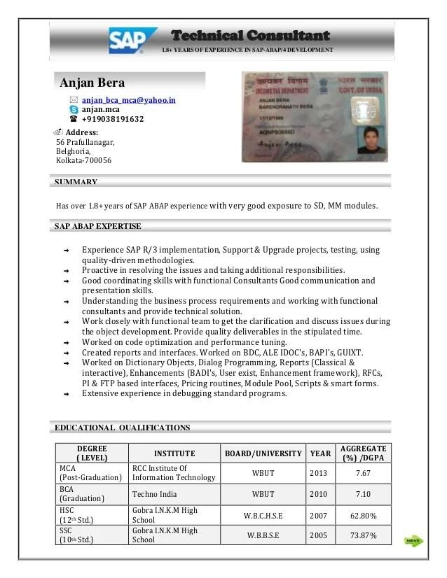 sap abap sample resume resume sap