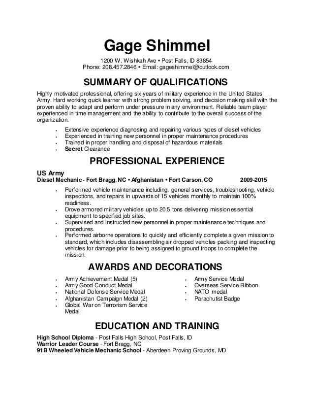 marine diesel mechanic sample resume