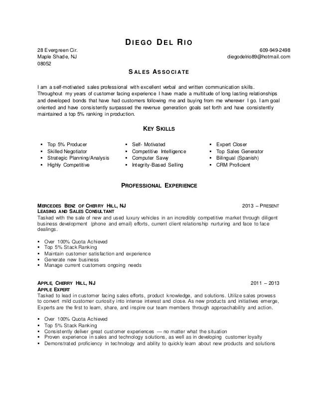 skills for sales associate resume - Josemulinohouse