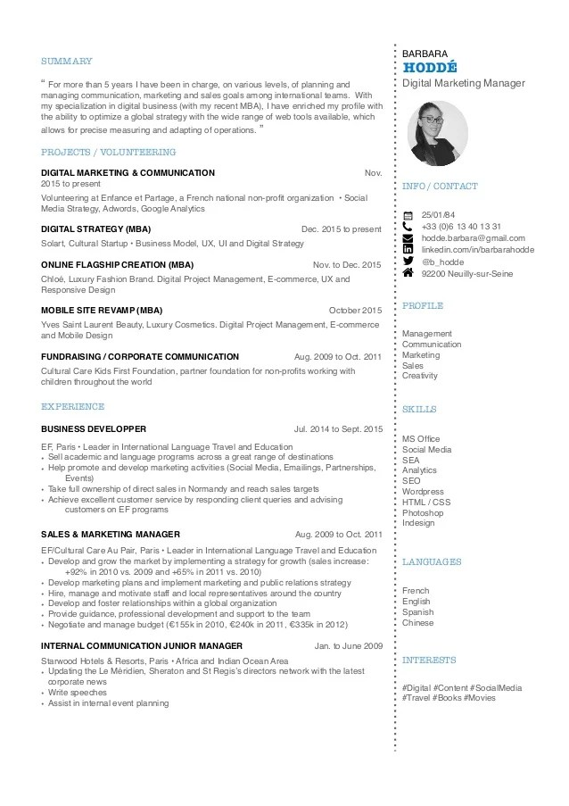 digital marketing profile cv