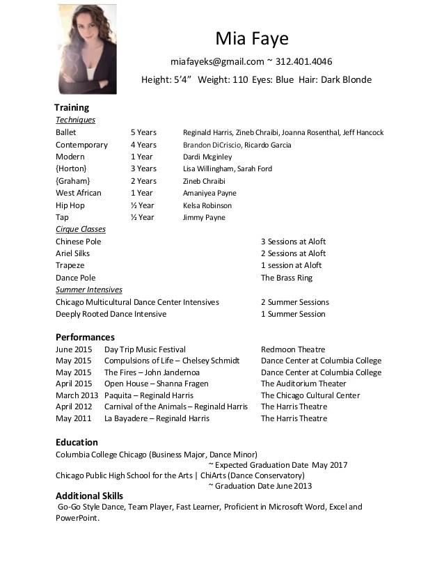 modern dance resume - Onwebioinnovate - dancer resume