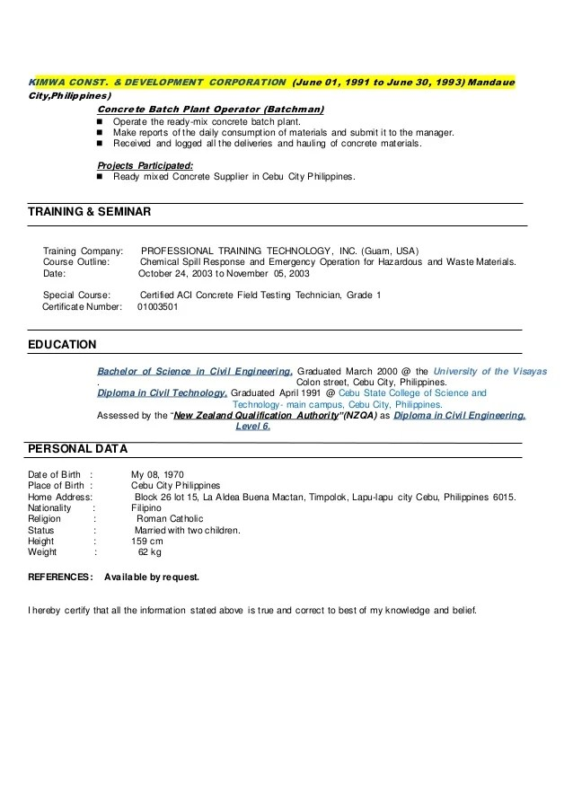 resume requirements philippines