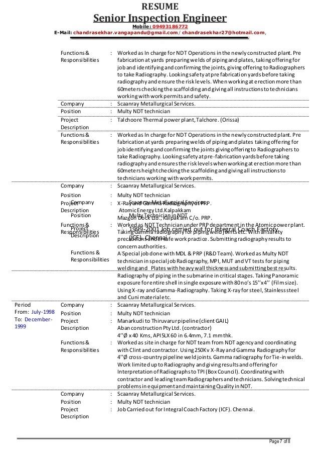 Quality System Engineer Resume Example Best Sample Resume Senior Inspection Engineer Vchandrasekhar Resume As On 01