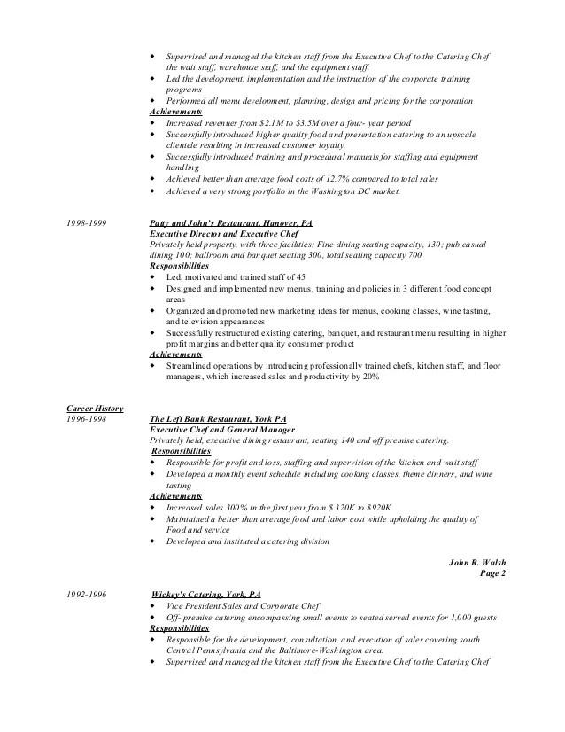 catering duties for resume - Josemulinohouse