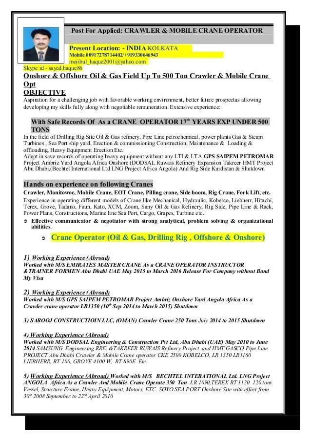 Contemporary Crane Operator Resume Objective Collection - Resume - certified crane operator sample resume