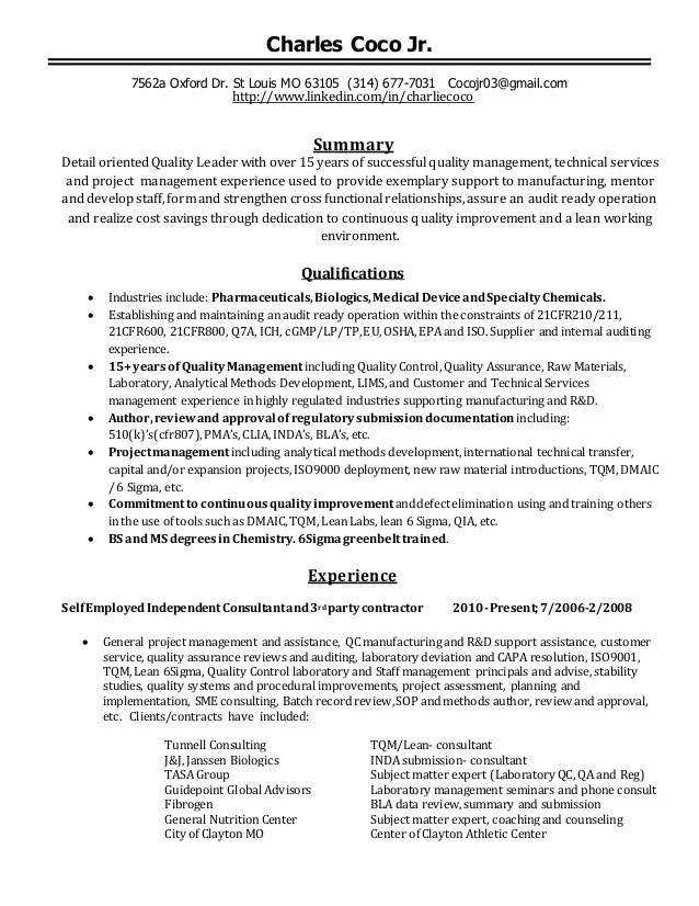 quality management resume summary examples