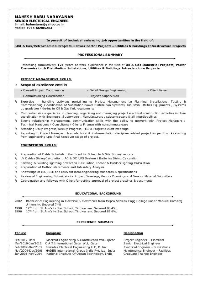 power engineer resumes - Maggilocustdesign - power engineer sample resume