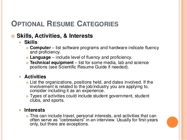 resume hobbies travel