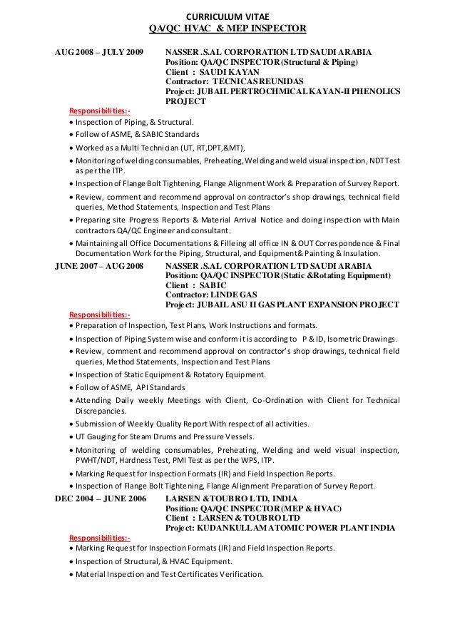 qc inspector resume - Maggilocustdesign - Resume For Quality Control Inspector