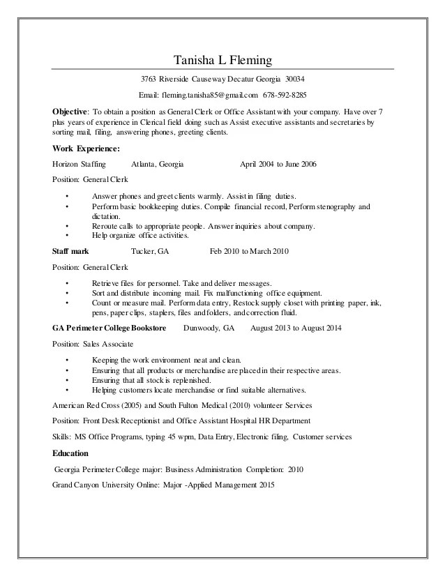 clerical skills resume - Alannoscrapleftbehind