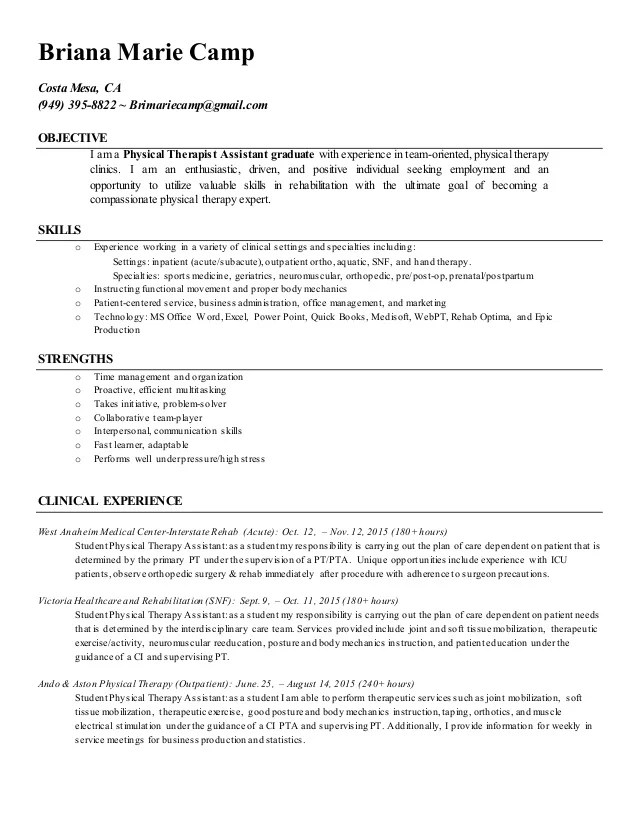 physical therapy assistant resume - Josemulinohouse