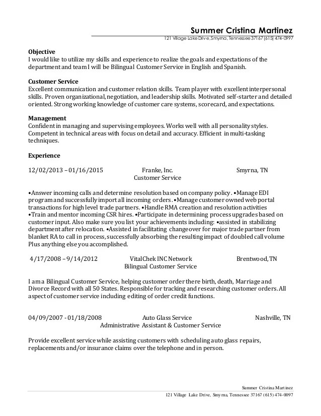 resume for bilingual customer service representative