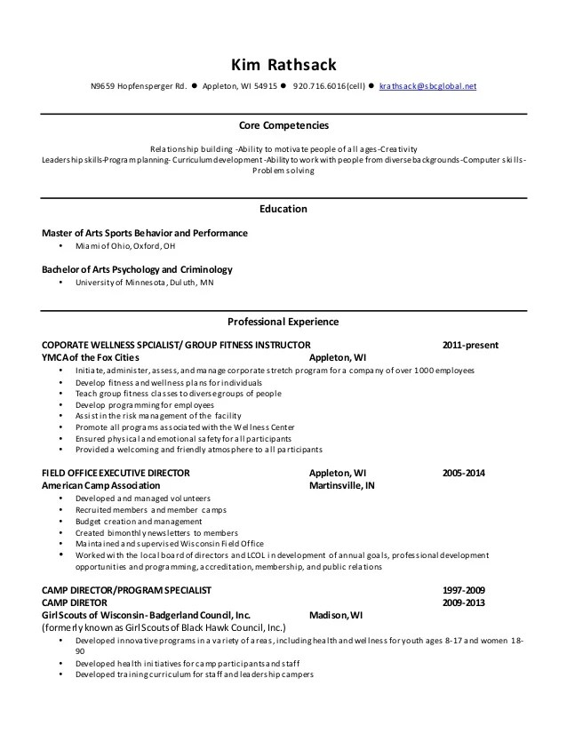 health coach sample resume