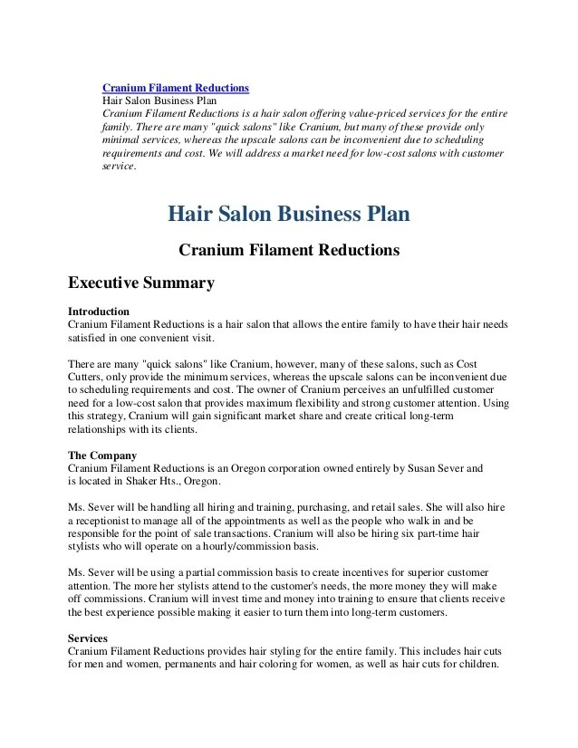 Sample Business Plan Hair Salon | Word Online Template CV (resume)