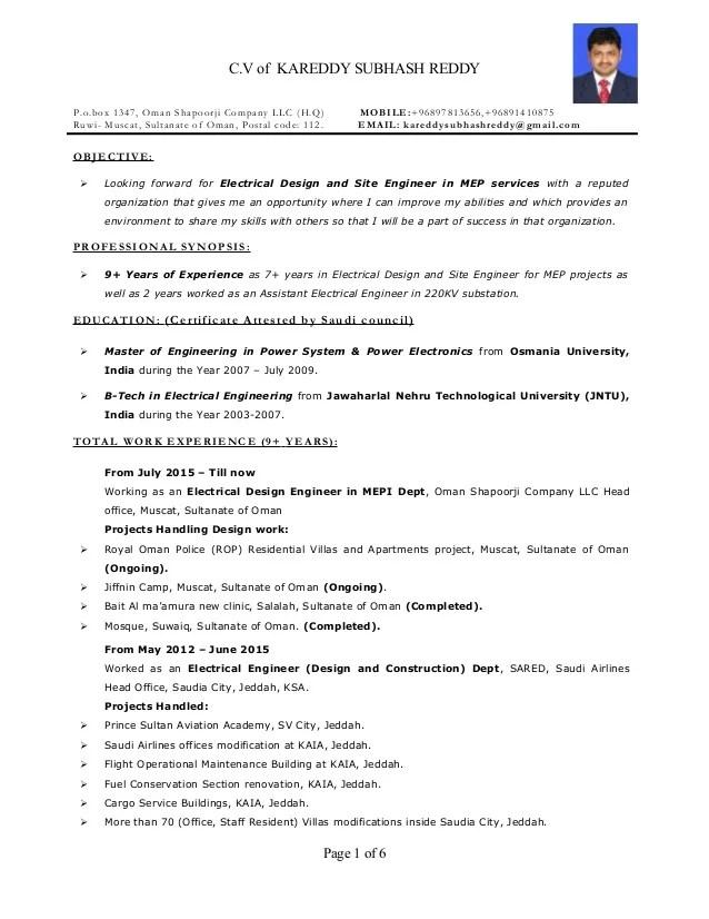 site engineer mep mechanical resume sample