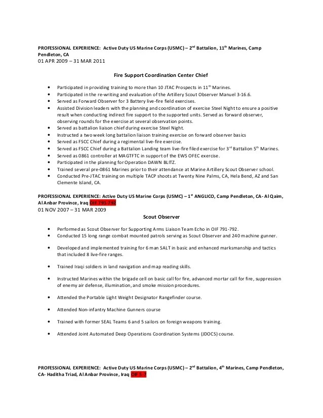 usmc professional resume - Josemulinohouse - marine corps resume