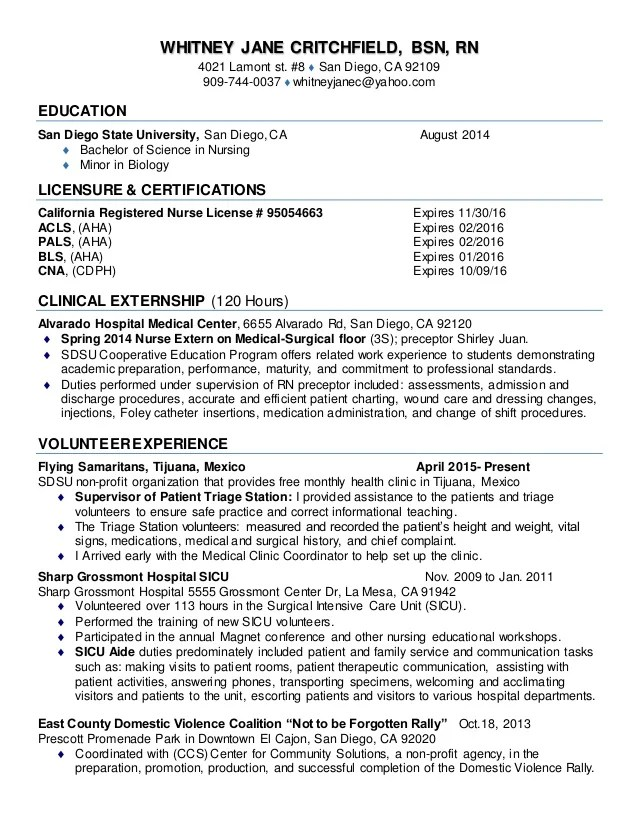 resume for new graduate nurse - Intoanysearch