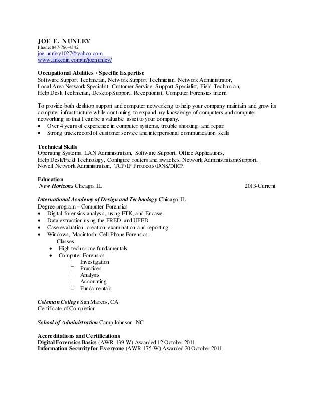 digital forensics resume - Alannoscrapleftbehind - computer forensics specialist sample resume