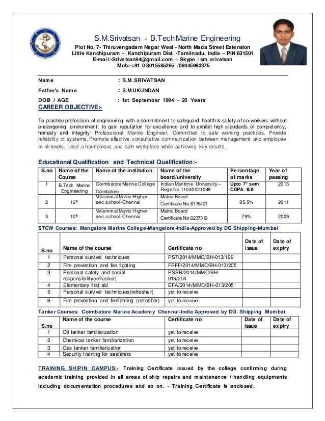Engineer Resume Example The Balance Srivatsan Cv Marine Engineering Revised
