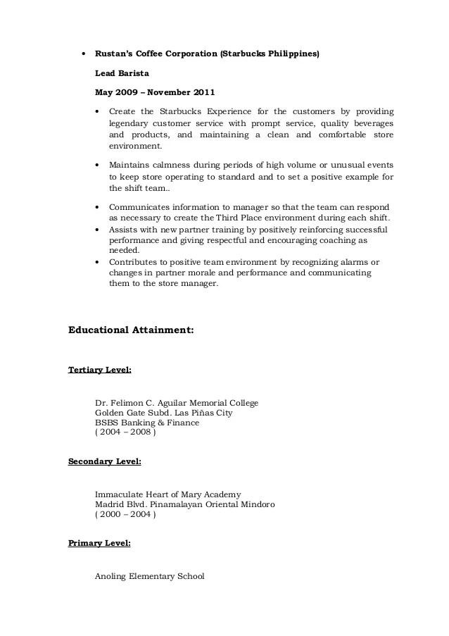 starbucks resumes - Minimfagency - barista resume example