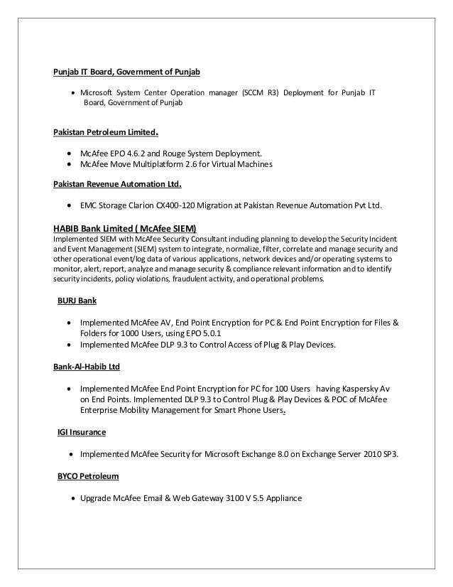 mcafee epo administrator resume sample