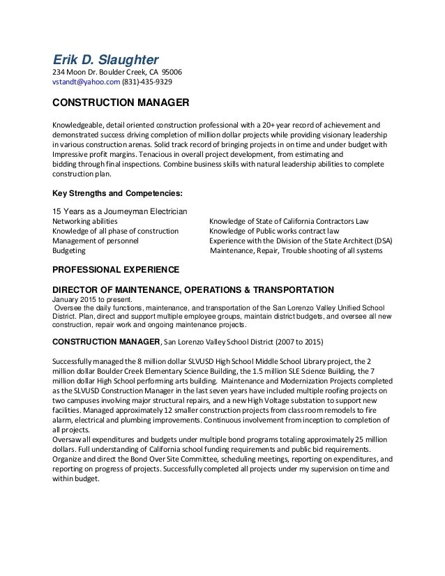 construction and project management specialist resume examples