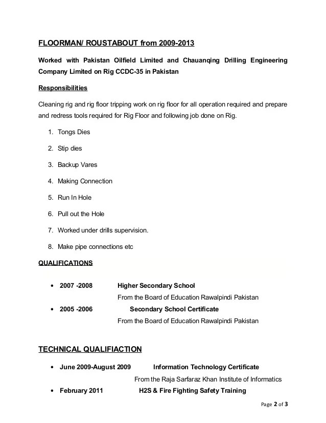 example for a resume for drilling rig company