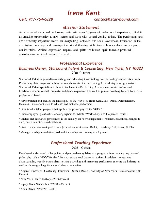 resume mission statements