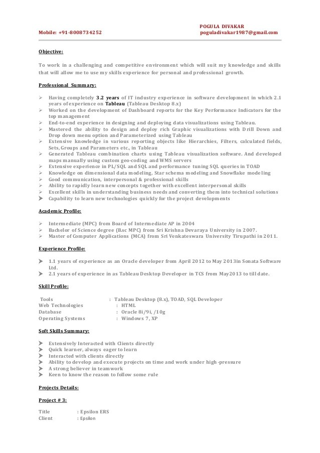 sample resume in tableau