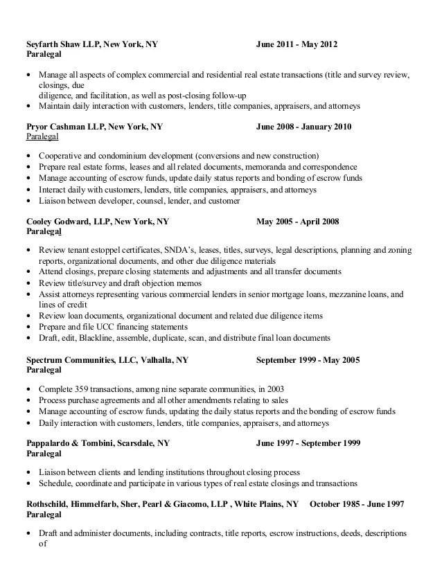 real estate paralegal resume