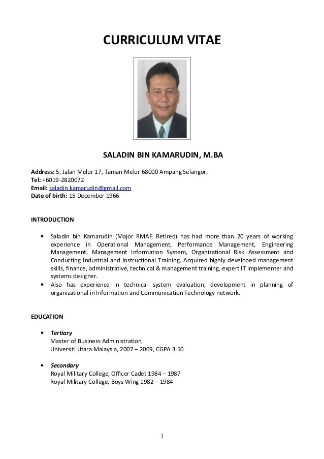 example resume format 2014