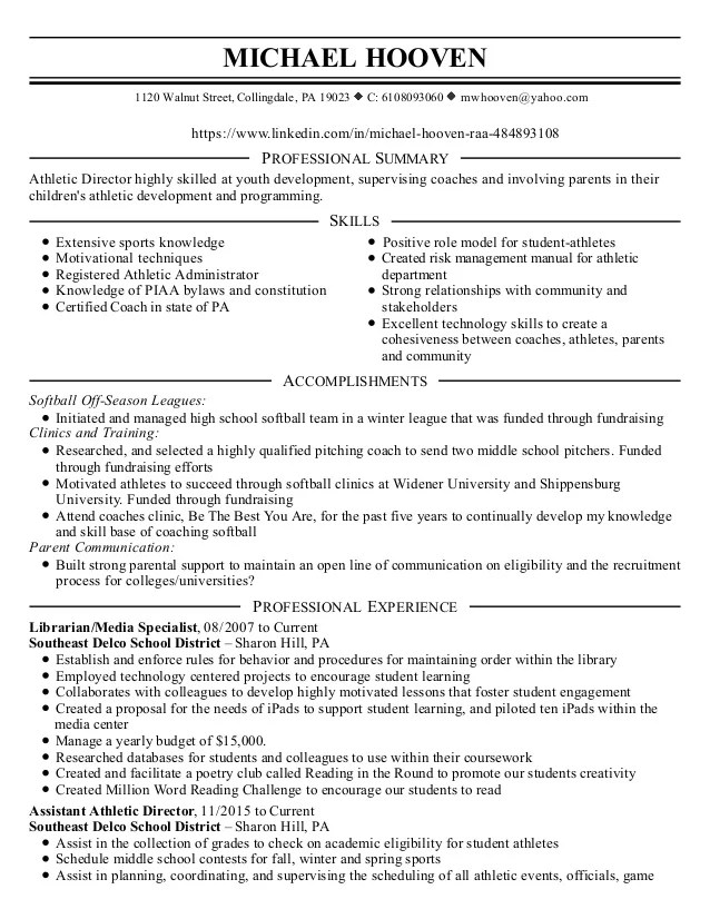 Resume Examples For College Students Athletes | Free Resume