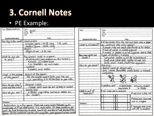 avid notes - Ozilalmanoof - Sample Cornell Note