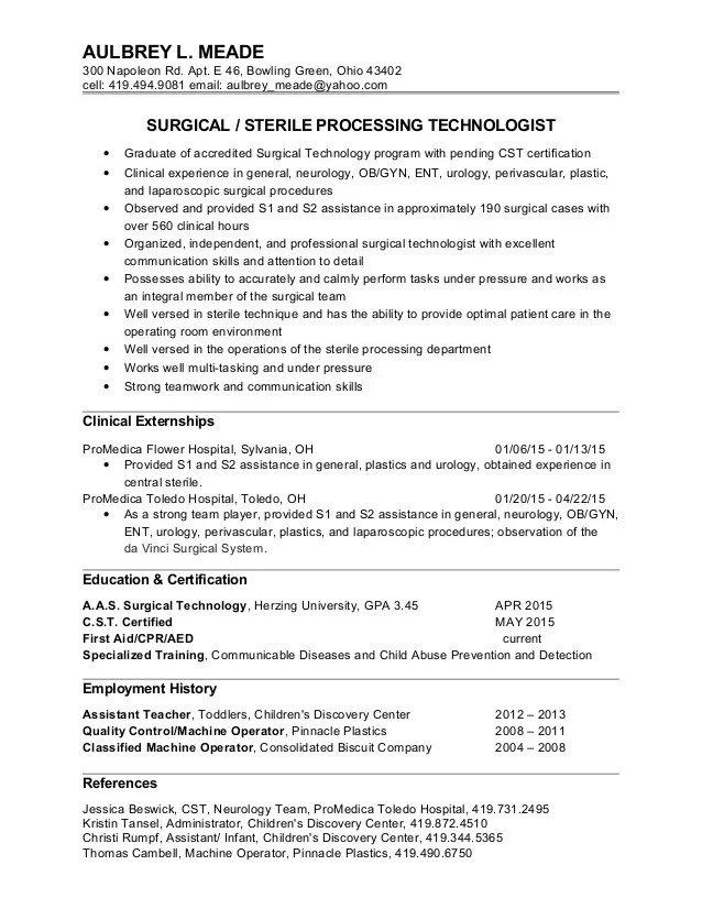 surgical technologist resume - Ozilalmanoof - surgical tech resume sample