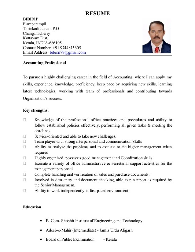 Cover Letter For Resume With Sample Cover Letter Format Bibi Biodata Accountant