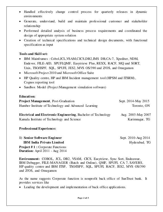 mainframe developer resume - Intoanysearch