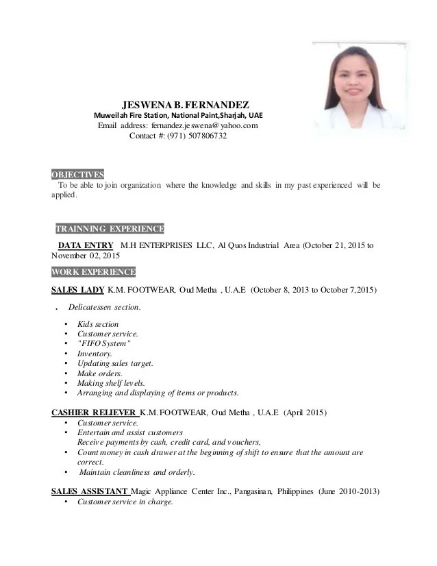 sample of resume for sales lady