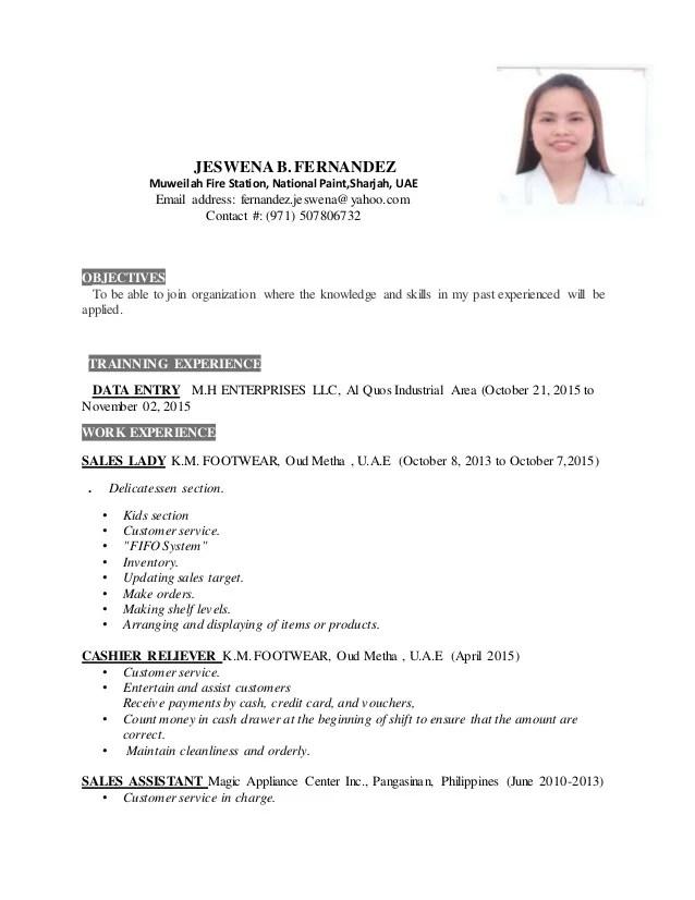 sample of resume of saleslady